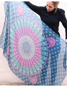 Grand foulard en soie bleu... 2