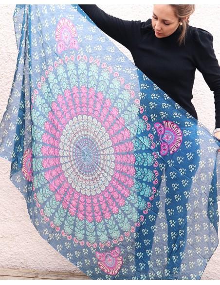 Grand foulard en soie rosace - Mosaik bijoux indiens