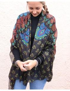 Grand foulard en soie noir...