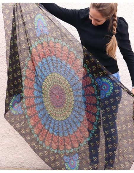 Grand foulard noir en soie - Mosaik bijoux indiens