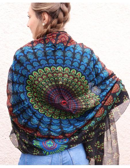 Foulard fin en soie noir - Mosaik bijoux indiens