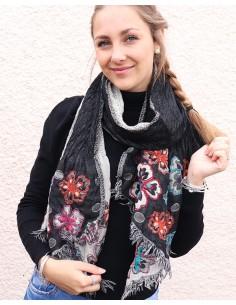 Echarpe en laine noire et...