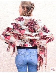 Foulard en laine beige et rose 2
