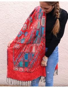 Grande écharpe rouge brodée - Mosaik bijoux indiens