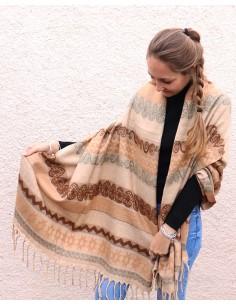 Etole épaisse marron et beige - Mosaik bijoux indiens