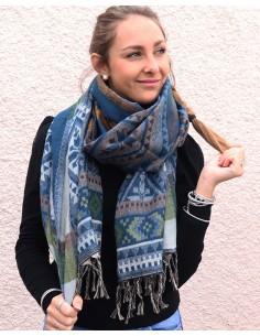 Grosse écharpe bleue polaire - Mosaik bijoux indiens 2