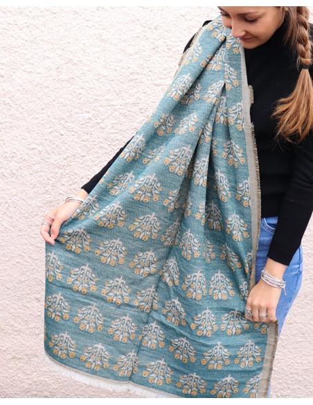 Grosse écharpe épaisse bleue et jaune - Mosaik bijoux indiens