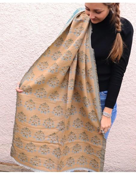 écharpe polaire jaune et bleue - Mosaik bijoux indiens