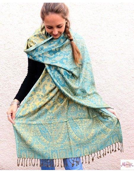 Grande étole jaune et turquoise -  Mosaik bijoux indiens