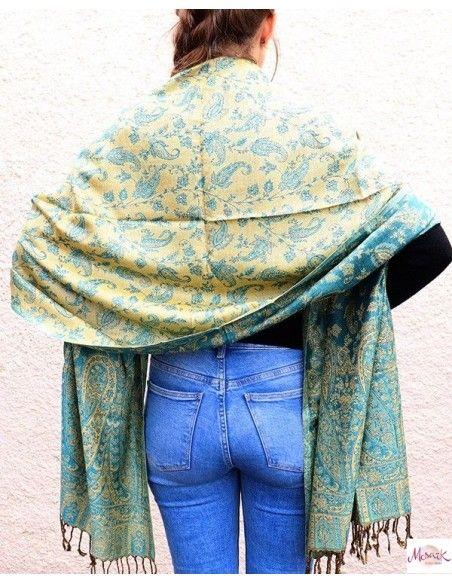 Grande écharpe à motifs turquoises et jaunes -  Mosaik bijoux indiens