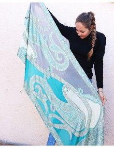 Écharpe turquoise à motifs - Mosaik bijoux indiens