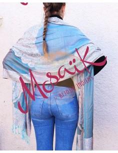 Echarpe bleue et beige - Mosaik bijoux indiens 2