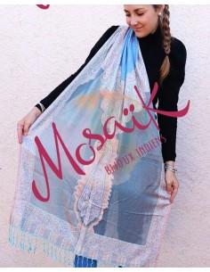 Echarpe bleue et beige - Mosaik bijoux indiens
