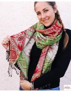 Etole rouge et verte - Mosaik bijoux indiens