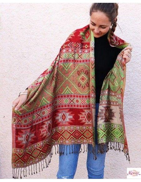 Echarpe motifs rouges et verts - Mosaik bijoux indiens