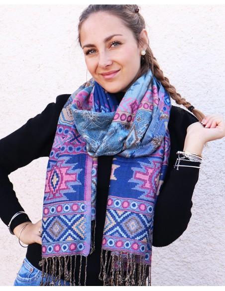 Etole bleue et rose - Mosaik bijoux indiens