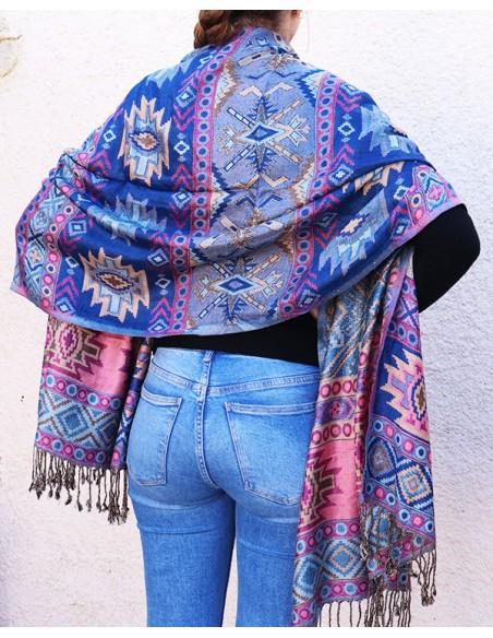 Etole viscose bleue et rose - Mosaik bijoux indiens