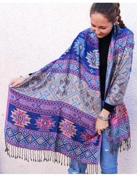 Etole à motifs bleue et rose - Mosaik bijoux indiens