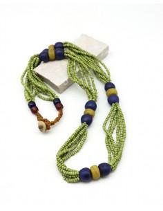 Collier ethnique à perles vertes et bleues - Mosaik bijoux indiens