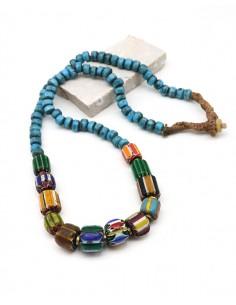 Sautoir tibétain et perles turquoises - Mosaik bijoux indiens