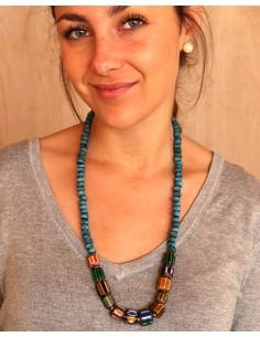 Sautoir tibétain et perles turquoises - Mosaik bijoux indiens 2