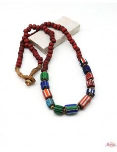 Collier ethnique tibétain et perles rouges - Mosaik bijoux indiens