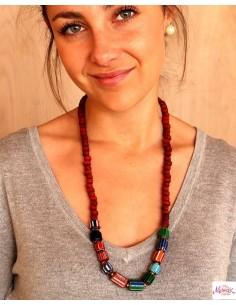 Collier ethnique tibétain et perles rouges - Mosaik bijoux indiens 2