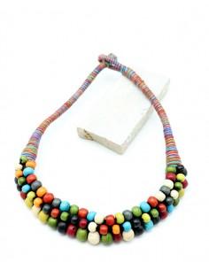 Collier tissu et perles colorées - Mosaik bijoux indiens