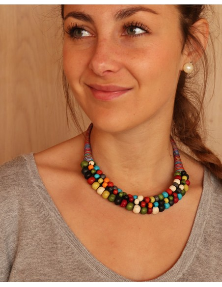 Collier fil de coton coloré et perles - Mosaik bijoux indiens