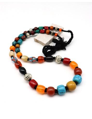 Collier à perles colorées - Mosaik bijoux indiens