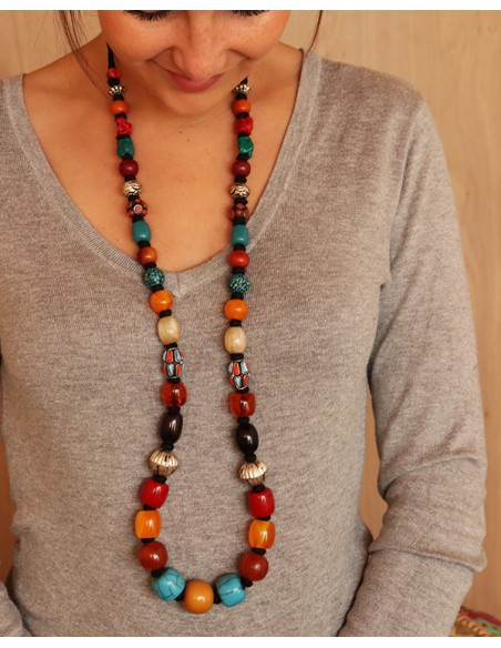 Sautoir et perles colorées - Mosaik bijoux indiens