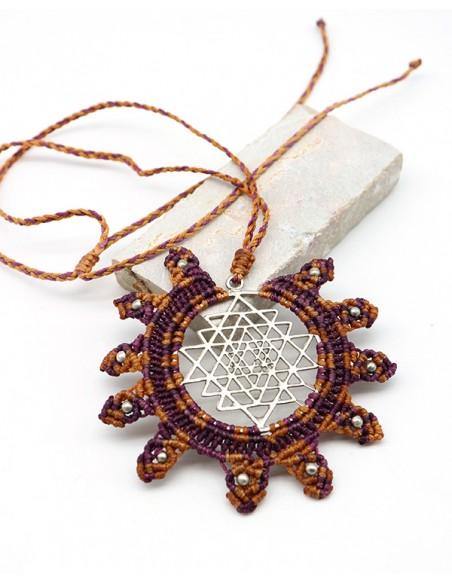 Collier macramé et argenté - Mosaik bijoux indiens