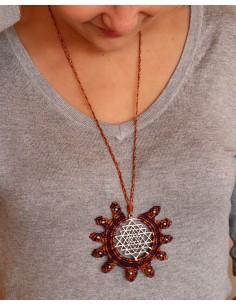 Collier macramé et argenté - Mosaik bijoux indiens 2