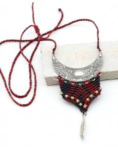 Collier macramé ethnique rouge et noir - Mosaik bijoux indiens