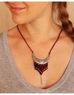 Collier macramé ethnique rouge et noir - Mosaik bijoux indiens 2