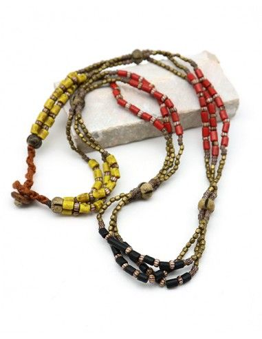 Collier ethnique en perles colorées - Mosaik bijoux indiens