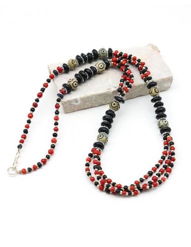 Collier ethnique à perles bleues et rouges - Mosaik bijoux indiens