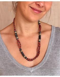 Collier ethnique à perles bleues et rouges - Mosaik bijoux indiens 2