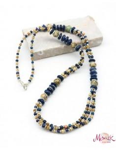 Collier ethnique perles bleues et beiges - Mosaik bijoux indiens