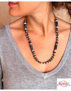 Collier ethnique perles bleues et beiges - Mosaik bijoux indiens 2