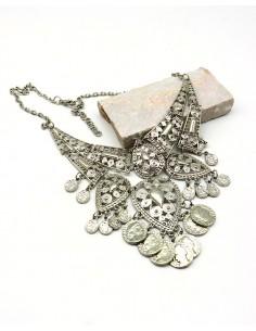 Collier argenté ethnique à pampilles - Mosaik bijoux indiens