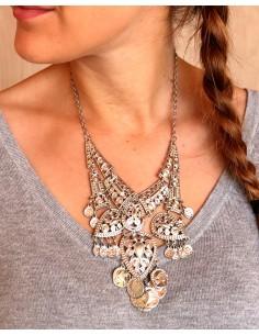 Collier argenté ethnique à pampilles - Mosaik bijoux indiens 2