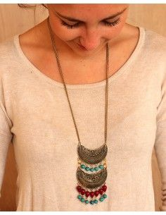 Collier doré ethnique à pampilles turquoises - Mosaik bijoux indiens 2