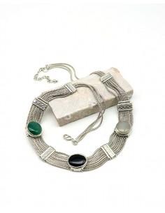 Collier ethnique argenté et agates naturelles - Mosaik bijoux indiens