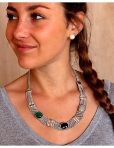 Collier ethnique argenté et agates naturelles - Mosaik bijoux indiens 2
