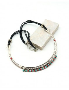 Collier argenté ethnique à perles - Mosaik bijoux indiens