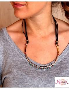 Collier argenté ethnique à perles - Mosaik bijoux indiens 2