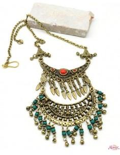Collier ethnique doré à pampilles bleues - Mosaik bijoux indiens
