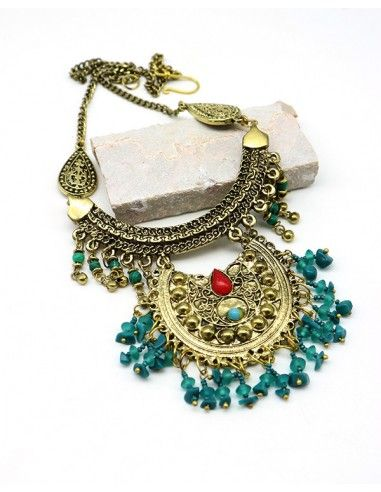 Collier ethnique doré à pampilles - Mosaik bijoux indiens