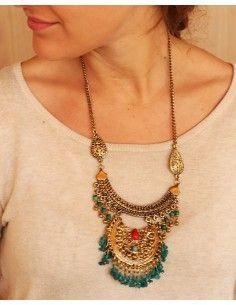 Collier ethnique doré à pampilles - Mosaik bijoux indiens 2